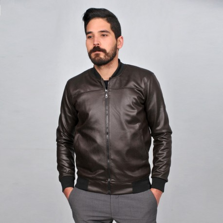 Veste en similicuir - marron
